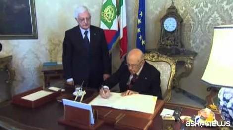 L'addio di Napolitano, dopo 9 anni firma dimissioni