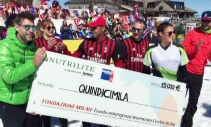 Campioni giocano a snow volleyball: 15mila euro ai terremotati
