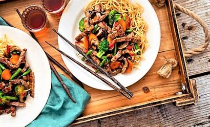 I noodles con manzo e verdure