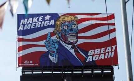 """Messico, Trump come un alieno di """"They live"""""""