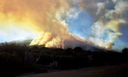 Golfo di Napoli assediato dalle fiamme, bruciano Vesuvio e Faito