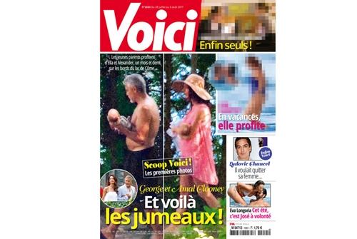 Paparazzi francesi fotografano i gemelli Clooney