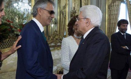 Il Presidente Mattarella incontra Andrea Bocelli