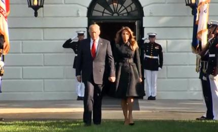 11 settembre, il minuto di silenzio di Donald e Melania