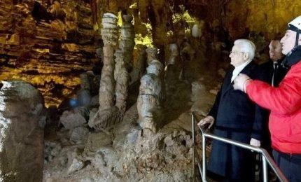 Il presidente Mattarella visita le Grotte di Castellana