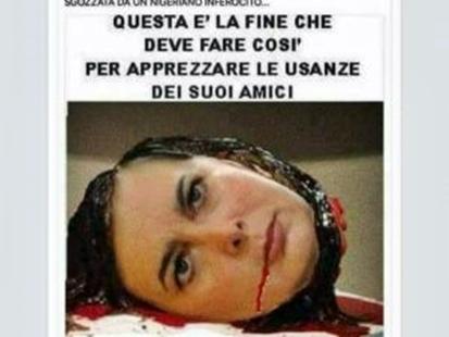 Fotomontaggio choc su Facebook, Boldrini sgozzata