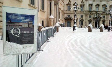 Neve a Roma, le immagini del Quirinale imbiancato