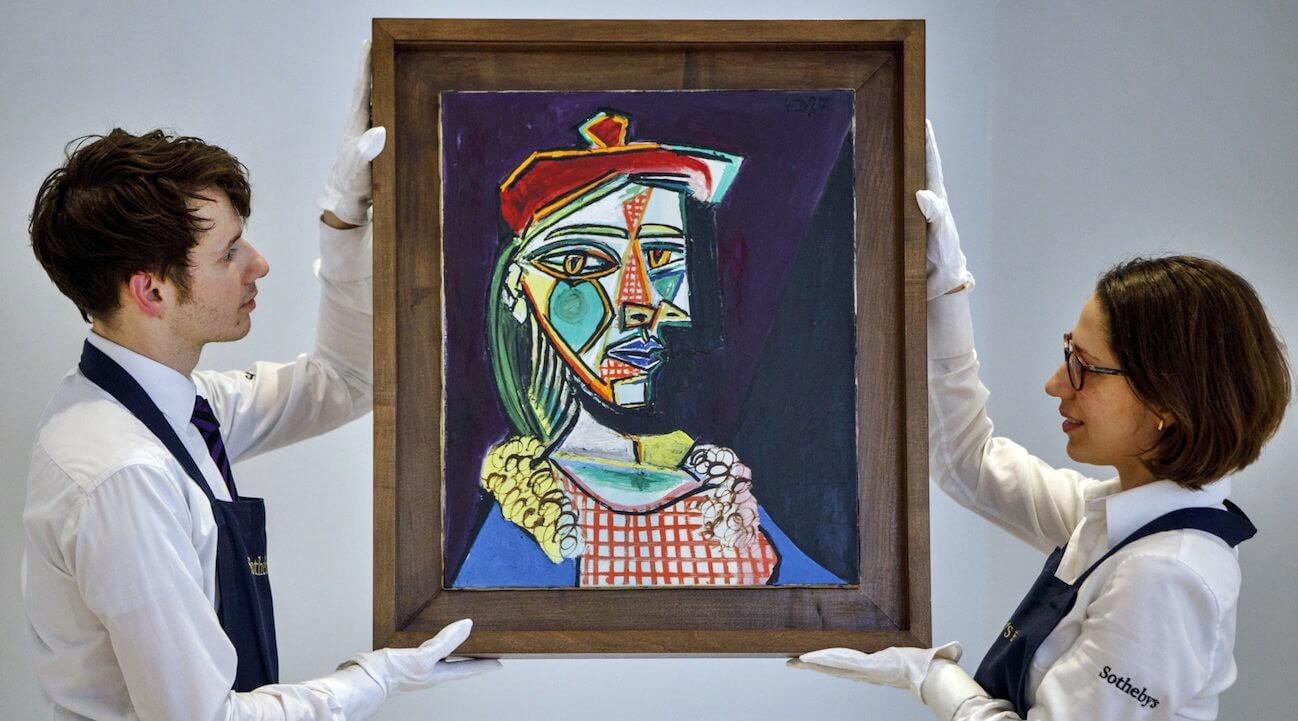 """""""Femme au be'ret et a' la robe quadrille'e"""", quadro Picasso venduto a 56 milioni"""