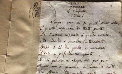 A Roma i manoscritti originali di Leopardi, anche l'Infinito