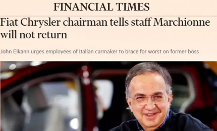 "Marchionne, la stampa mondiale rende onore all'""iconico Ceo"""