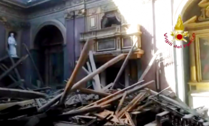 Roma, crollo tetto chiesa al Campidoglio. Nessun ferito