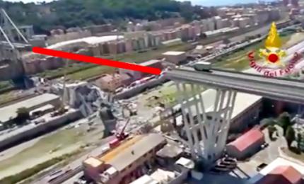 Ciò che rimane del Ponte Morandi visto dall'alto