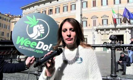 Cannabis legale, flash mob Radicali italiani davanti Montecitorio