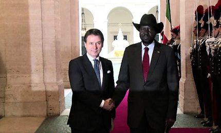 Conte riceve il presidente del Sud Sudan a Palazzo Chigi