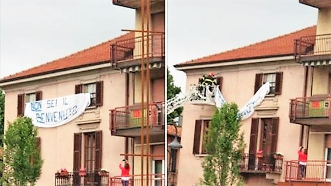 Striscione anti Salvini rimosso da vigili del fuoco, tante polemiche