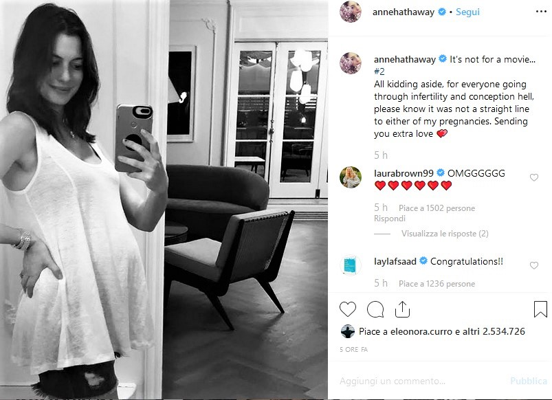 Anne Hathaway incinta: secondo figlio in arrivo per l'attrice