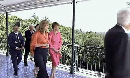 Mattarella riceve Steinmeier a Villa Rosebery a Napoli