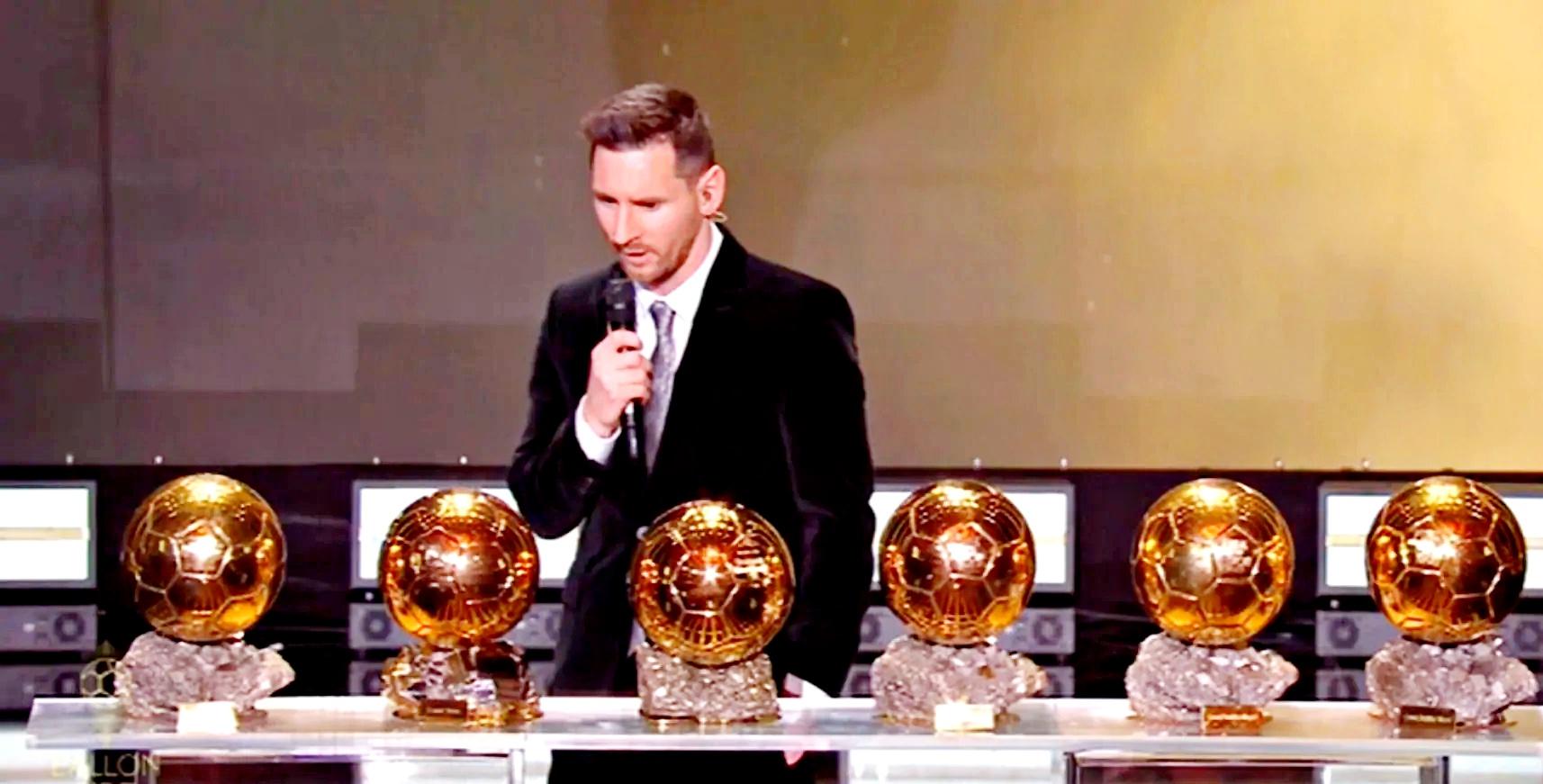 """Messi vince il suo sesto Pallone d'Oro: """"Mai smettere di sognare"""""""