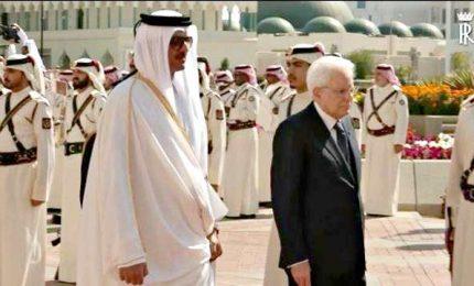 Mattarella in Qatar ricevuto dall'Emiro Al-Thani