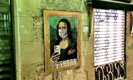 Mobile world virus, la Gioconda nel nuovo murale di Tvboy