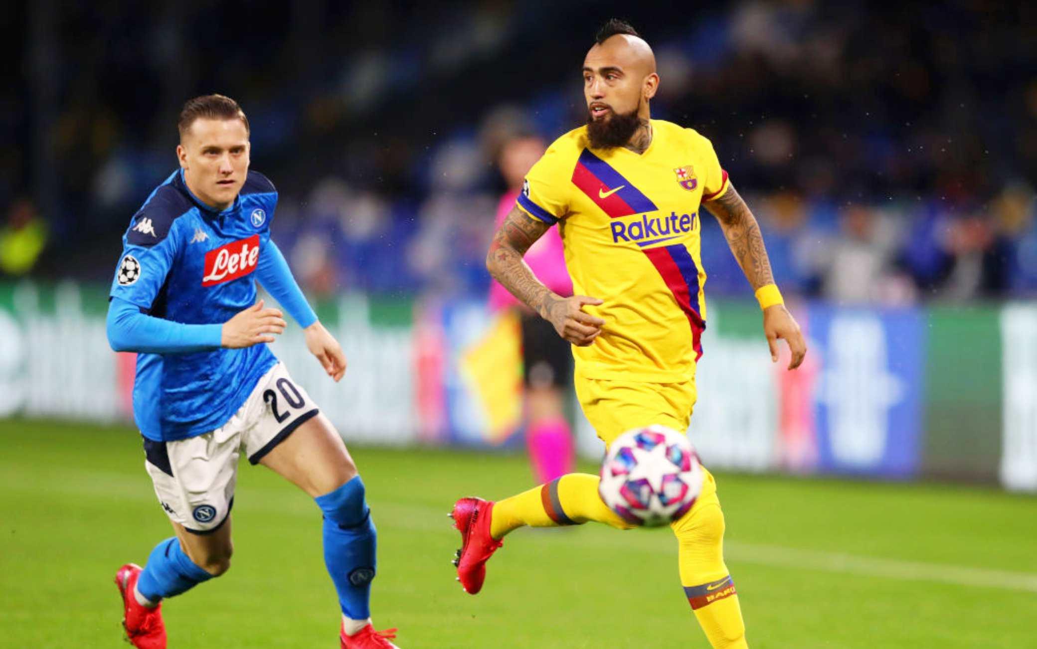 Napoli-Barcellona 1-1, a Mertens risponde Griezmann