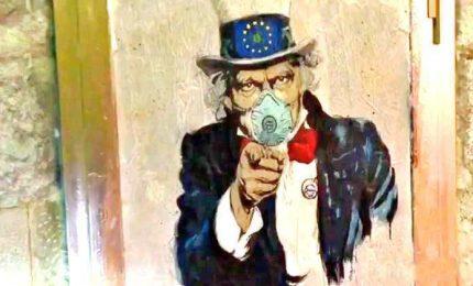 Coronavirus, murales di TvBoy: Zio Sam dice I want you stay home