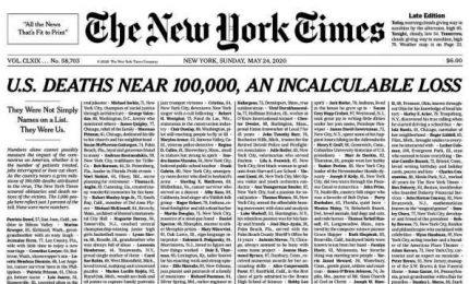 New York Times dedica l'intera prima pagina ai morti di Covid-19