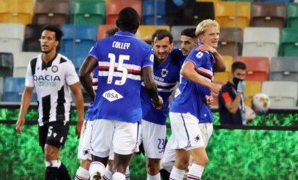 Samp vince a Udine. Pari Fiorentina-Verona, Cagliari-Lecce e Parma-Bologna