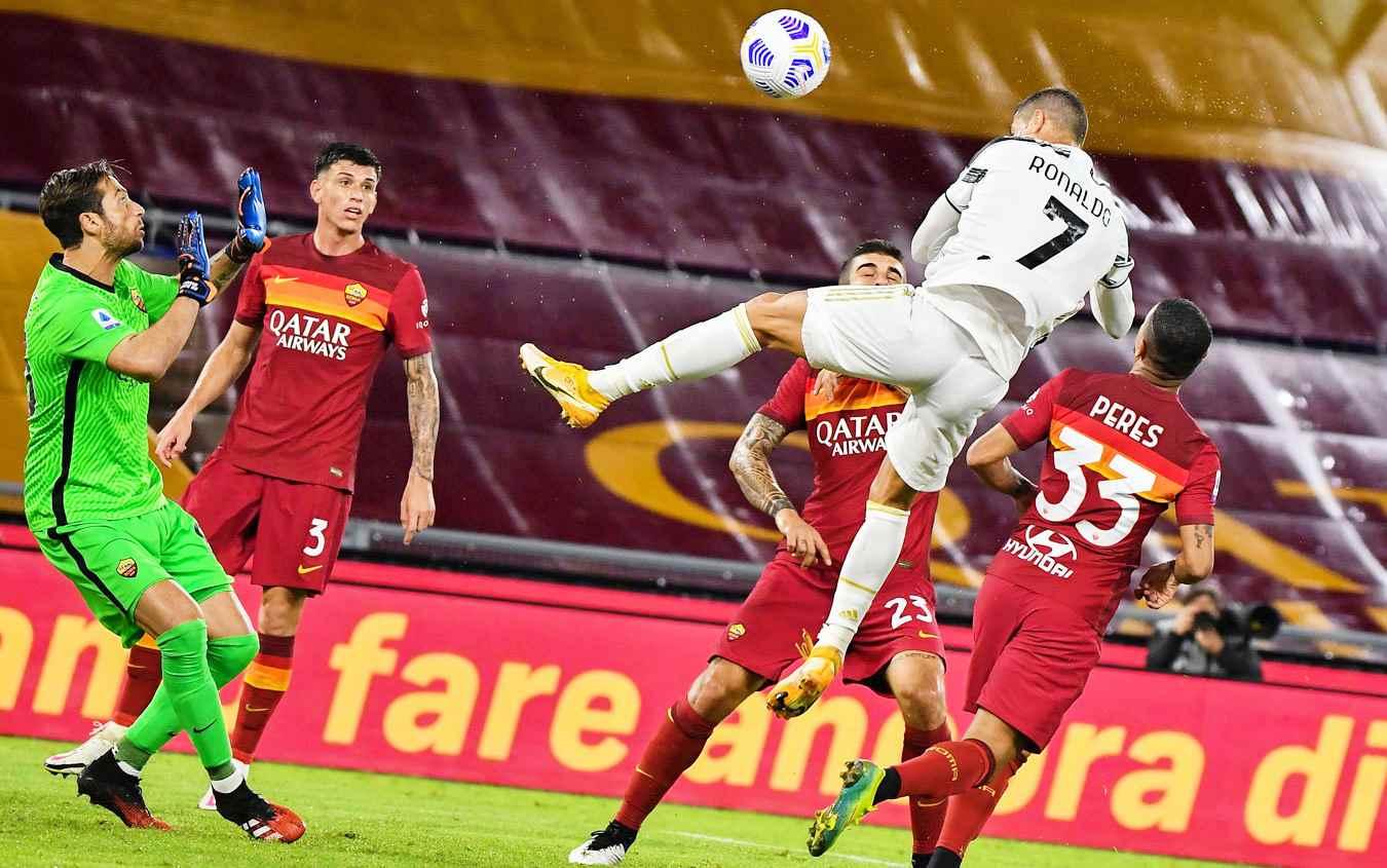Roma-Juve 2-2, doppiette di Veretout e Cristiano Ronaldo
