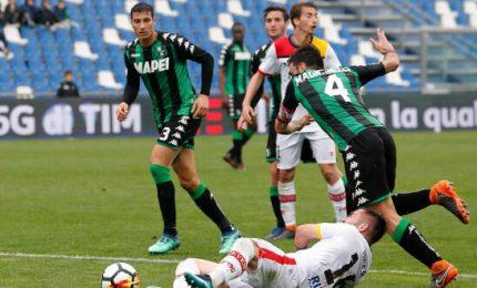 Sassuolo-Benevento 1-0, neroverdi secondi per una notte