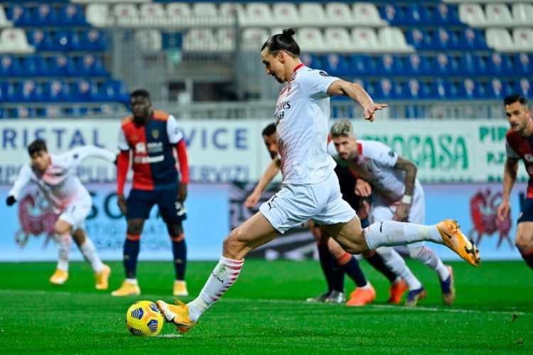 Cagliari-Milan 0-2, torna Ibra ed è doppietta