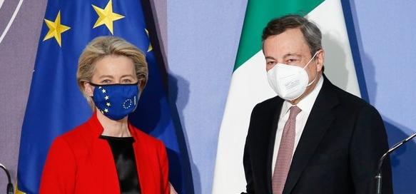 """Von der Leyen a Roma da Draghi: il Pnrr ottiene il """"bollino"""" Ue"""